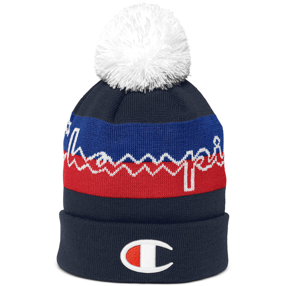 CHAMPION Men's Script Knit Pom Beanie ONE SIZE