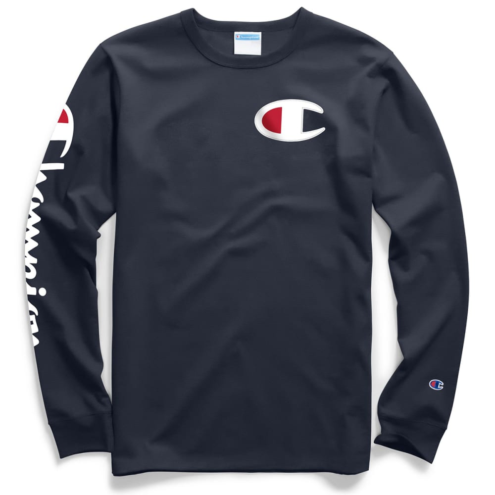 CHAMPION Men's Big C Logo Long-Sleeve Tee XS