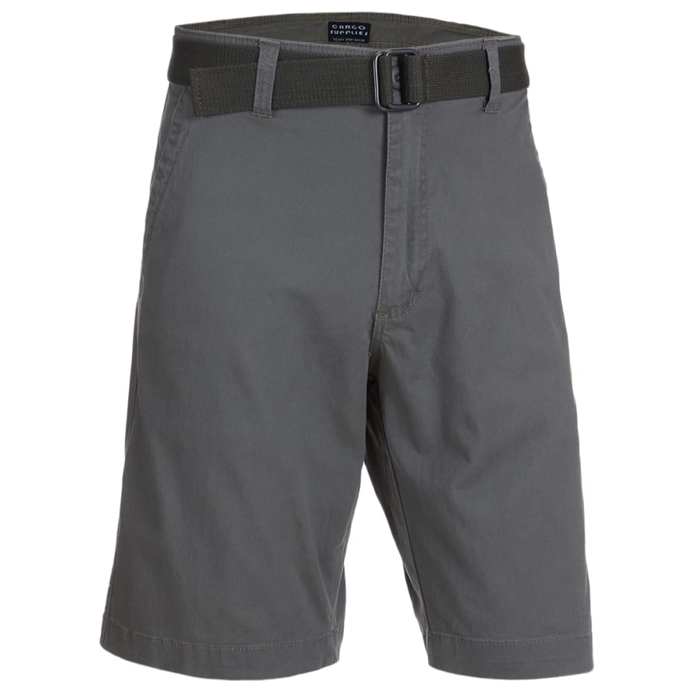 CARGO SUPPLIES Men's Flat Front Belted Shorts 30