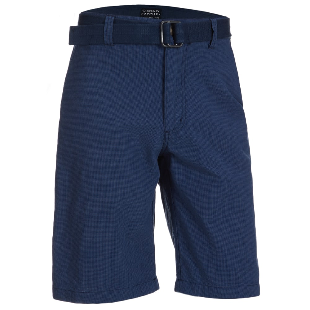 CARGO SUPPLIES Men's Flat Front Belted Shorts 32
