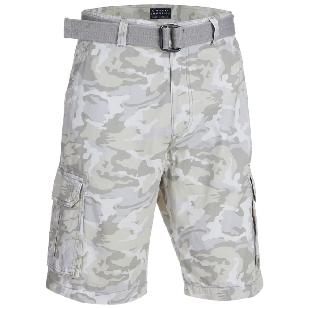 CARGO SUPPLIES Men's Camo Flat Front Belted Cargo Shorts 30