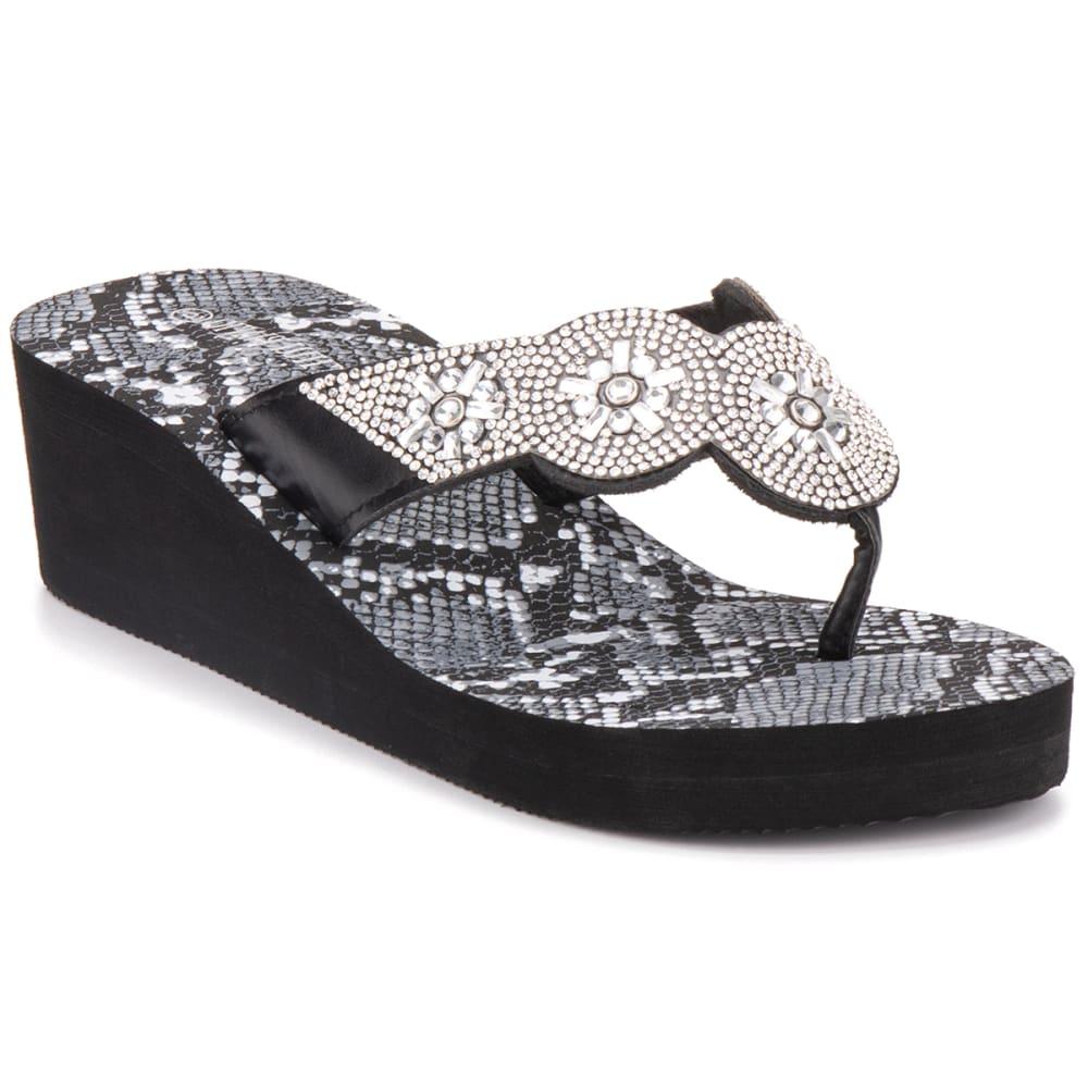 OLIVIA MILLER Women's Wedged Flip Flops 9