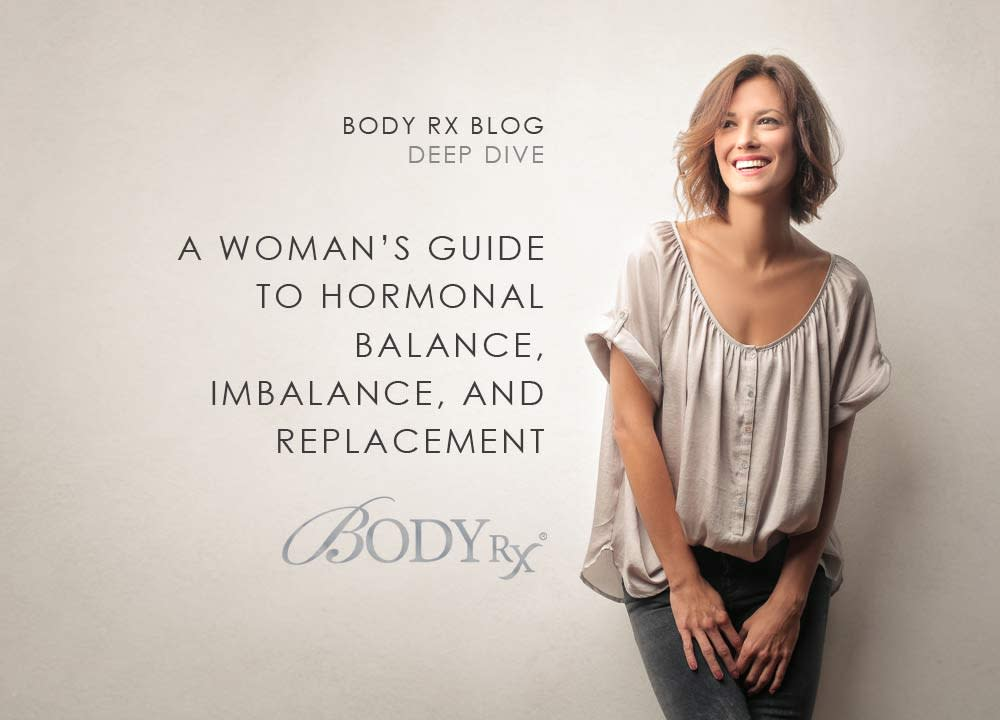 smiling middle aged woman next to text that reads a womans guid to hormonal balance and replacement