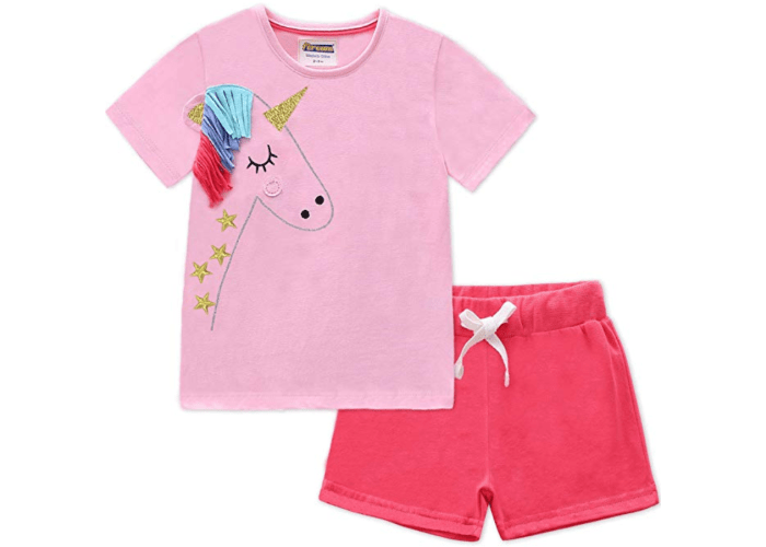 948a8fd32 Girls Unicorn Summer T-Shirt and Shorts