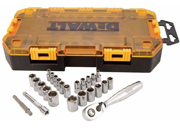 25-pc DEWALT Drive Socket Set, SAE/Metric, 1/4-Inch Drive