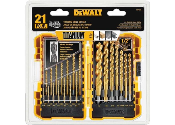 21-pc DEWALT Titanium Pilot Point Drill Bit Set