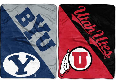 "NCAA ""Halftone"" Micro Raschel Throw Blankets"