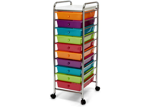 Seville Classics 10-Drawer Multipurpose Mobile Rolling Utility Storage Organizer with Tray Cart