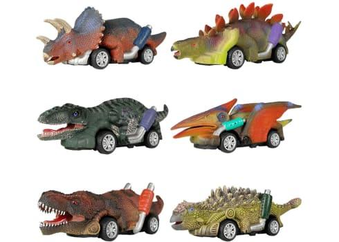 6-pk Dino Pull Back Cars