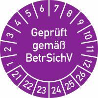 Prüfplakette - Geprüft gemäß BetrSichV, 2021 - 2026