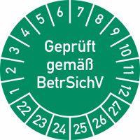 Prüfplakette - Geprüft gemäß BetrSichV, 2022 - 2027