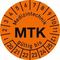 Prüfplaketten - Medizintechnik MTK gültig bis, Jahr 2020 - 2025