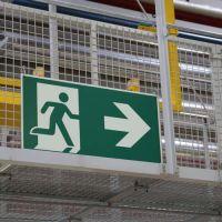Rettungsweg / Notausgang rechts - Piktogramm für bodennahes Leitsystem