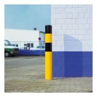 Rammschutz-Poller WACHTWERK X® XL aus Stahl - schwarz gelb als Eckschutz