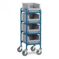 Beistellwagen mit 4 Holzbodenetagen - Breite 430 mm  - Tragkraft 250 kg