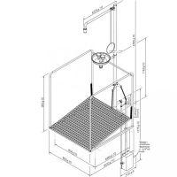 Frostsichere Notdusche mit Zugstange und Augendusche mit Auffangbecken und umliegendem Schutzkorb - Unterflurauslösung
