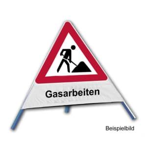 Faltsignal - Baustelle mit Text: Gasarbeiten