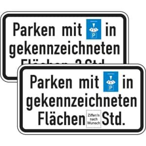 Parken mit Parkscheibe in gekennzeichneten Flächen 2 Stunden (Verkehrsschild Nr. 1040-33)
