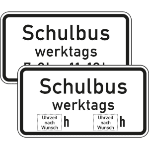 Zusatzzeichen Schulbus Zusatzschild mit VZ 1042-36