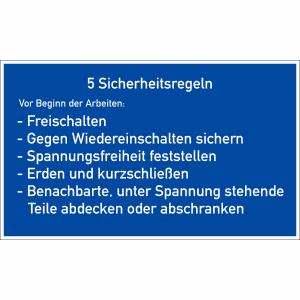 Gebotszeichen - 5 Sicherheitsregeln
