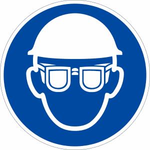 Gebotszeichen - Kopf- und Augenschutz benutzen