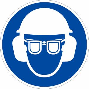Gebotszeichen - Kopf- , Gehör und Augenschutz benutzen