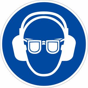 Gebotszeichen - Gehör- und Augenschutz benutzen