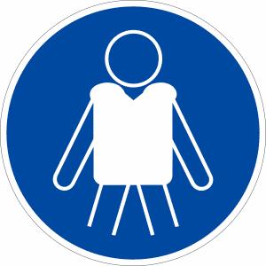 Gebotszeichen - Rettungsweste benutzen nach ISO 20712-1 (WSM 001)