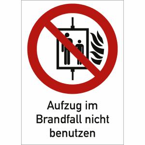 Aufzugsschilder Aufzug im Brandfall nicht benutzen