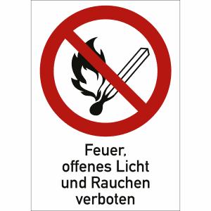Kombischild Feuer, offenes Licht, Rauchen verboten