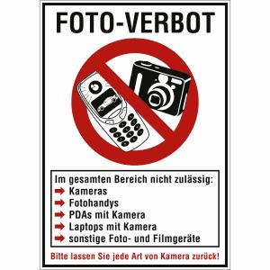 Kombischild Foto-Verbot