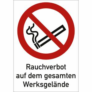 Kombischild Rauchverbot auf dem gesamten Werksgelände nach ISO 7010