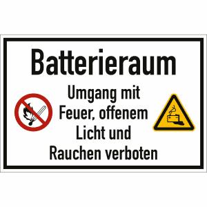 Batterieraum - Umgang mit Feuer, offenem Licht und Rauchen verboten