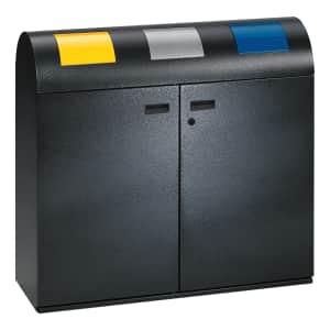 Wertstoffsammler 3-fach / Wertstoffsammelstation mit selbstschließenden Einwurfklappen - Inhalt 240 (3x 80) Liter