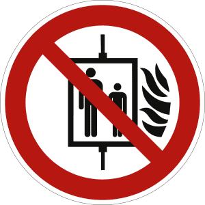 Aufzug im Brandfall nicht benutzen nach ISO 7010 (P 020)