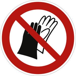 Schutzhandschuhe tragen verboten nach ISO 7010 (P 028)