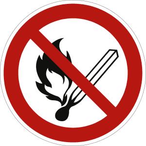 Feuer, offenes Licht und Rauchen verboten (BGV A8 P 02)
