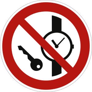 Mitführen von Metallteilen und Uhren verboten nach ISO 7010 (P 008)