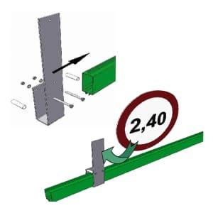 Schildhalter für Höhenbegrenzungssperre