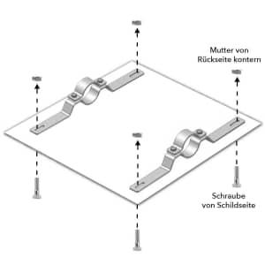 Rohrschelle Benutzung mit Schild, Schrauben und Muttern