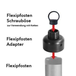 Adapter und Schrauböse für Flexipfosten gelb