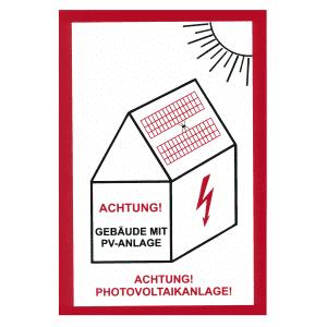 Schild Warnung vor Gefahren durch Photovoltaikanlage (Variante 1)