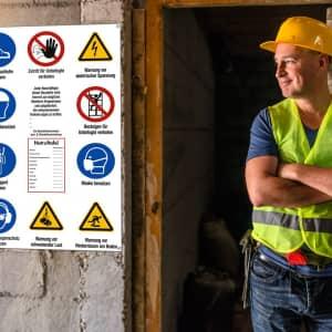 Großes Baustellenschild und Sicherheitsschild als Überblick