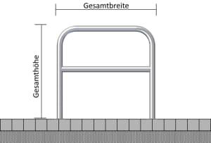 Anlehnbügel aus Stahl, wahlweise mit Querholm, zum Aufdübeln, Ø 60 mm