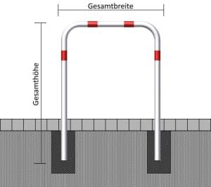 Anlehn- und Absperrbügel aus Stahl, zum Einbetonieren, Ø 60 mm