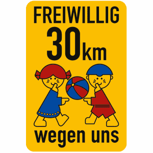 Spielplatzschild - Freiwillig 30 km/h wegen uns