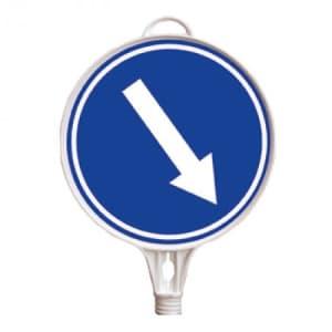 Schilderaufsätze Richtungspfeil nach unten - Rundes Schild