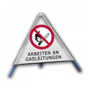Faltsignal - Rauchen, offenes Licht und Feuer verboten mit Text: ARBEITEN AN GASLEITUNGEN