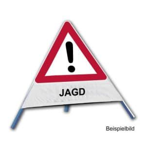 Faltsignal - Gefahrenstelle mit Text: JAGD