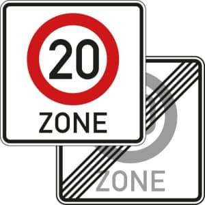 20 ZONE Schild doppelseitig   Tempozone VZ 274.1-41